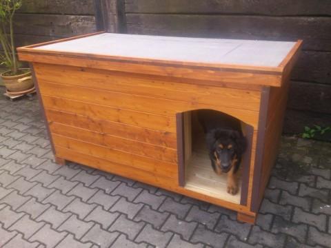 psí bouda s vchodem vpravo